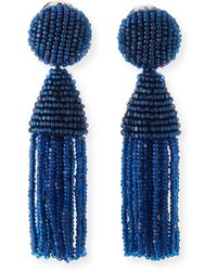 Oscar de la Renta Beaded Short Tassel Earrings - Lyst