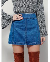 Free People | Womens Zip To It Denim Mini Skirt | Lyst