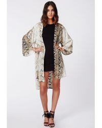 Missguided Jelsa Snake Print Kimono - Lyst