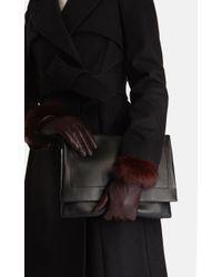 Karen Millen - Fur Trim Glove - Lyst