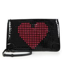 Christian Louboutin Loubiposh Studded Patent-Leather Valentine Clutch - Lyst