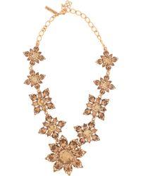 Oscar de la Renta Crystal Flower Necklace - Lyst