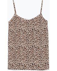 Zara Camisole Top animal - Lyst