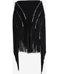 Jay Ahr Fringe Skirt Black - Lyst