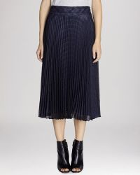 Karen Millen Pleated Plaid Midi Skirt - Lyst