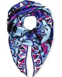Emilio Pucci Printed Silk Scarf Blue - Lyst