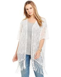 Soprano - Plus Size Fringed Lace Kimono Cardigan - Lyst