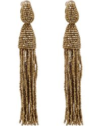 Oscar de la Renta Long Goldtone Tassel Clipon Earrings - Lyst