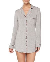 Splendid Intimates Plaid-piped Menswear Sleepshirt - Lyst