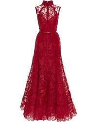 Elie Saab Sleeveless Lace and Silk Georgette Gown - Lyst