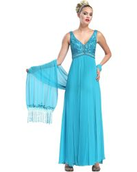 Sue Wong Embellished Empire Gown - Lyst