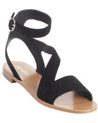 Prada Black Suede Strappy Sandals - Lyst