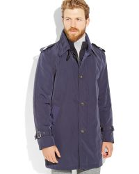 Tommy Hilfiger Navy Front Button Raincoat - Lyst