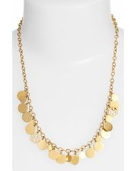 Tory Burch Logo Charm Frontal Necklace - Worn Gold gold - Lyst