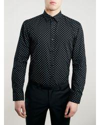 Topman Selected Homme Black Slim Fit Shirt - Lyst