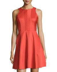 Suzi Chin For Maggy Boutique Chevron-pintucked Fit-and-flare Dress - Lyst