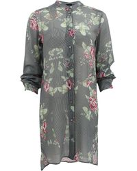 McQ by Alexander McQueen Floral Button Down Tunic - Lyst