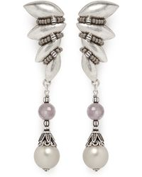 Miriam Haskell Art Deco Feather Crystal Pearl Drop Earrings silver - Lyst