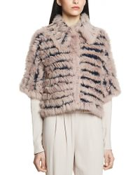 Patrizia Pepe Over Coat in Knitted Wool with Real Rabbit Fur and Threequarter Sleeves - Lyst