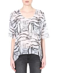American Vintage Abstract Print Silk Top White Rock - Lyst