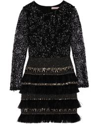 Matthew Williamson Embellished Lace And Chiffon Mini Dress - Lyst
