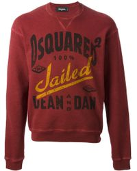 DSquared2 Red Logo Sweatshirt - Lyst