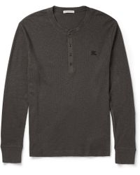 Burberry Brit Slim-fit Ribbed Cotton and Wool-blend Henley T-shirt - Lyst