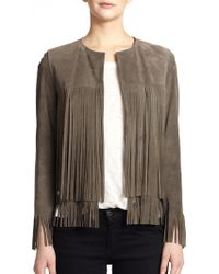 ThePerfext April Fringe-Trimmed Suede Jacket - Lyst