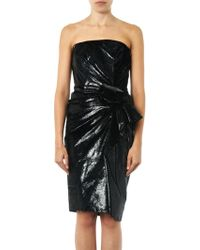 Lanvin Metallic Velvet Strapless Dress - Lyst