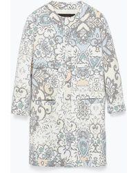 Zara Pixellated Print Coat - Lyst