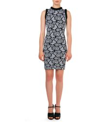 Christopher Kane Sleeveless Floral Pattern Intarsia Sheath Dress - Lyst