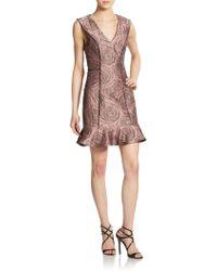 ABS By Allen Schwartz Rose-Print V-Neck Dress - Lyst