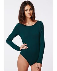 Missguided Leigh Open Back Bodysuit Deep Green - Lyst