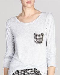 Karen Millen Tee - Three Quarter Sleeve Stud Pocket - Lyst