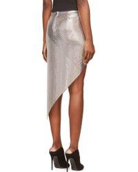 Paco Rabanne Silver Asymmetrical Chainmail Skirt - Lyst