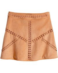 H&M Imitation Suede Skirt brown - Lyst