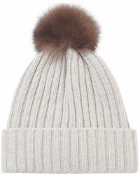 Helene Berman Fur Pom Pom Beanie Hat - Lyst