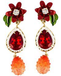 Dolce & Gabbana | Flower Drop Clip-on Earrings | Lyst