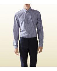Gucci Checked Poplin Classic Shirt - Lyst