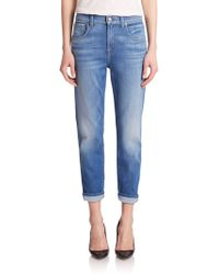7 For All Mankind Relaxed Cropped Roll-Up Skinny Jeans blue - Lyst