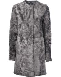 Drome Shaved Mottled Shearling Coat - Lyst
