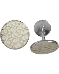 Barneys New York Silver & Enamel Lace-Pattern Cufflinks - Lyst