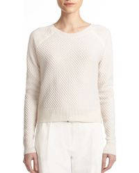 ATM Cropped Cashmere Blend Popcorn-Knit Sweater - Lyst