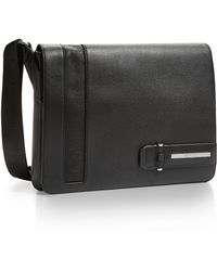 Calvin Klein White Label Evan Leather City Messenger Bag black - Lyst