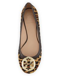 Tory Burch Reva Leopardprint Calf Hair Flat - Lyst