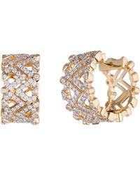 Diamonds Unleashed - #she'sbrilliant 18k Yellow Gold & Diamond Huggie Earrings - Lyst