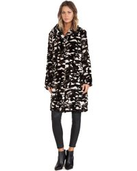 Jocelyn Camouflage Shawl Collar Rabbit Fur Coat - Lyst
