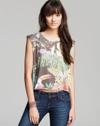 Wildfox Tee Jungle Party Cropped Muscle - Lyst