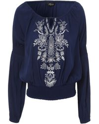 Jane Norman Embroidered Detail Gypsy Top - Lyst