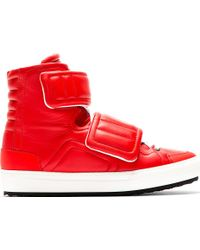 Pierre Hardy Red Leather Velcroed High_top Sneakers - Lyst